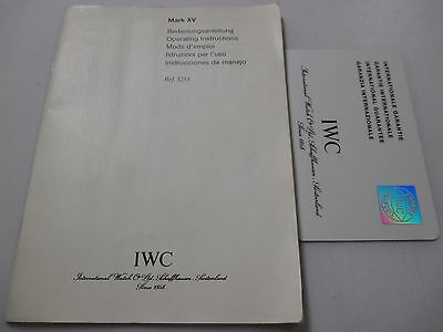 IWC Mark XV Ref. 3253 Watch Instructions Book +Open International Guarantee Card