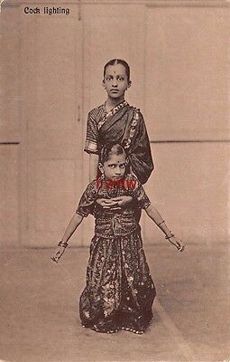 India Ethnic 'cock Fighting' 2 Young Girls Pose One Holds The Other Printed Card
