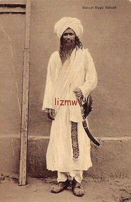 India Ethnic Quetta A Masori Bugti Baluch Man Poses By Long Ruler Printed Card