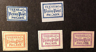 US local stamp, 137L1, Teese&Co., five forgeries