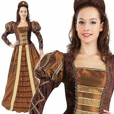 Adult Golden Queen Costume Ladies Medieval Princess Fancy Dress Outfit New