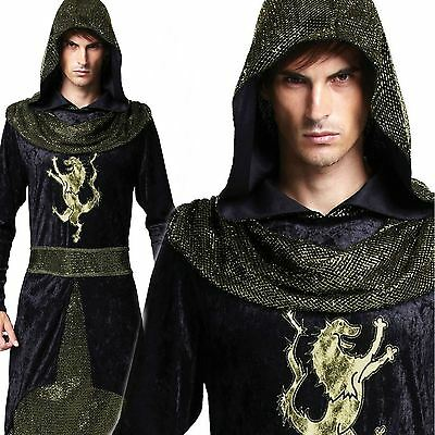 Adult Mens Medieval Prince Robe Fancy Dress Outfit Costume Knight Assasin New