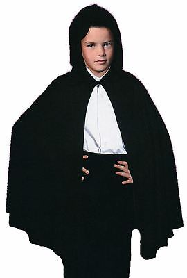 Child Kids Medieval Halloween Wizard Witch Black Hooded Cape Cloak Fancy Dress