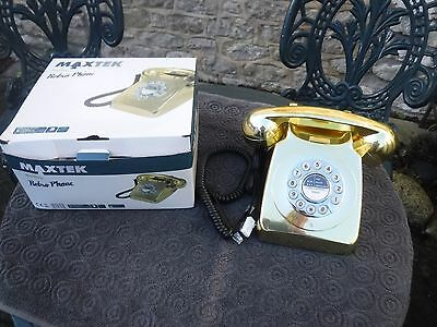 Gold Coloured Retro Style Corded Telephone with Push Buttons