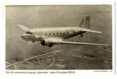 "1937 KLM  Airlines Issued Douglas DC-3 ""Nandoe"" PH-ALN Photo Postcard"