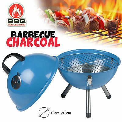 Barbecue Griglia Charcoal a Carbone Diametro 30 cm Acciaio Blu BBQ Collection