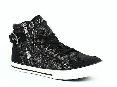 U.S. POLO Assn.CADY High Top Women's Casual Lace Up Black Textile Shoes Sneakers