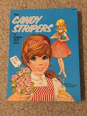 Vintage 1973 Candy Stripers Paper Doll Box Play Set 2 Dolls Babies Crib Clothes