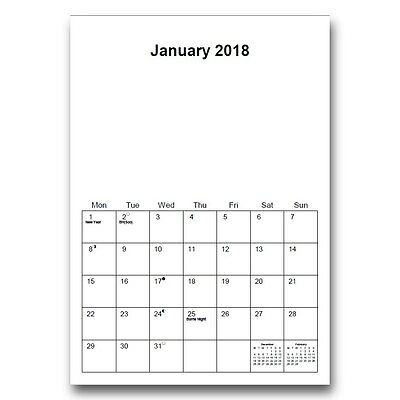 A4 Blank Calendars 2018 - 3 Designs to choose From