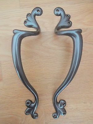 Pair Bronze Finish Art Nouveau Door Pull Handles Knobs Plates