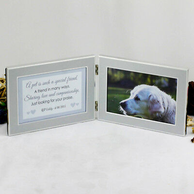 Pet Memorial Double Silver Frame - Personalised - Add a Name & Message