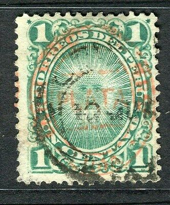 PERU;  1880 early classic Optd. issue fine used 1c. value