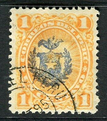 PERU;  1881 early arms of Chile Optd. issue used 1c. value