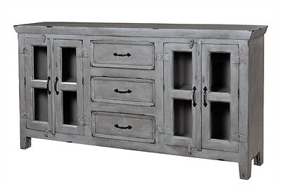 """70"""" L Lillian 3 drawer 4 door cabinet console distressed finish Grey handcrafted"""