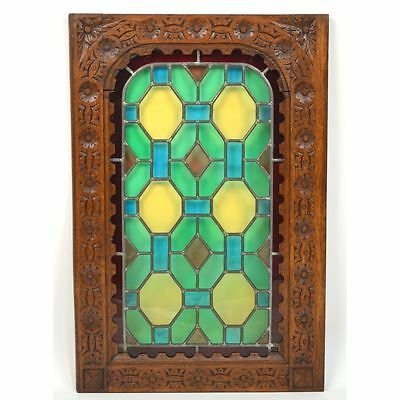 Antique French Carved Geometric Architectural Renaissance Stained Glass Door