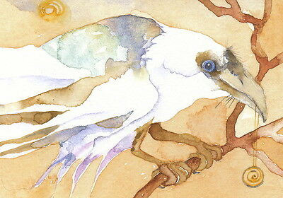 GREETING CARD spiritual art watercolor spirit totem white raven 'DREAM RAVEN'