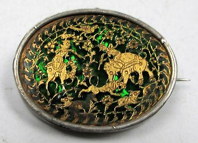 Fine antique silver mounted gilded scenic picture glass plaque brooch/pendant