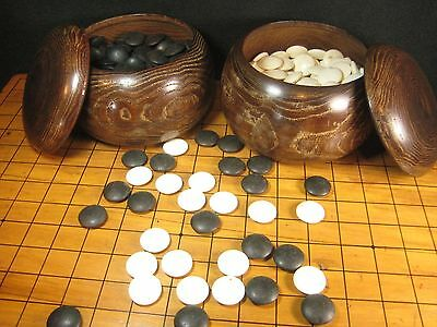Japanese Vintage Go Game Goke Shell & Slate Stones With  Mulberry Wood Bowls