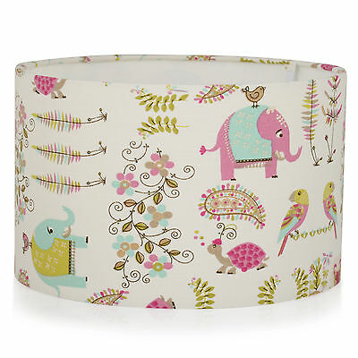 Childrens Nursery Pink Indian Elephant, assorted Animal,Ceiling,Table Lamp Shade