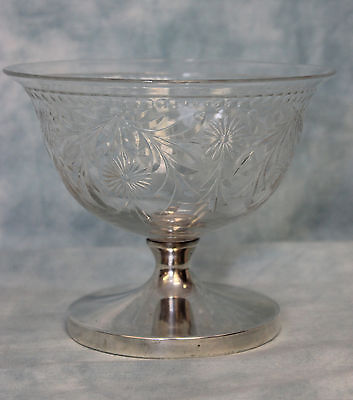 Merrill Gravic Flowers etc. Cut Glass Compote Sterling Silver Weighted Base#1707