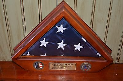 US Army National Guard American Soldier Flag Display Case Hero Citizen Wood Box