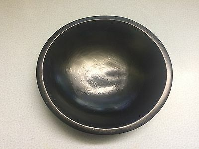 """Vintage MUNISING Wooden Bowl approx. 9"""" x 8 1/2"""" Painted Black"""