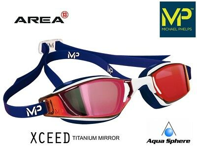 MP Michael Phelps XCEED Swimming Goggles White,Red Titanium Mirror RACING GOGGLE