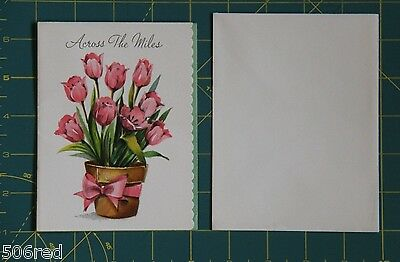 Vintage Across the Miles Easter Card 1950's Cut Out Edge Tulips Scrapbook Cutter