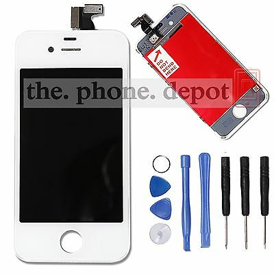 For iPhone 4 LCD White Display Touch Digitizer Screen Full Assembly Replacement