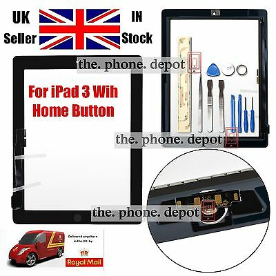 Replacement For IPAD 3 4 Touch Screen Digitizer Front Glass Home Button Black UK