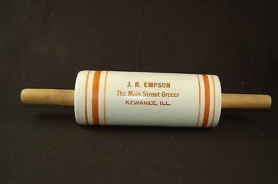 Stoneware Rolling Pin Advertising Banded J.R. Empson Grocer Kewanee, Illinois IL