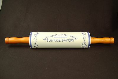 Sunrise Bakery Advertising Rolling Pin Blue White Floral