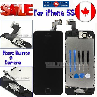 Replacement For iPhone 5S LCD Touch Screen Digitizer+Home Button&Camera Black CA