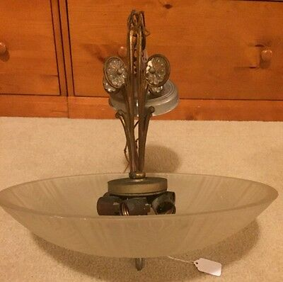 Art Deco 1920's Hanging Chandelier Lamp Original Shade Brass