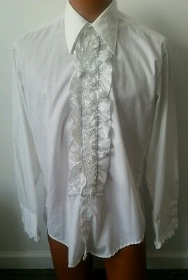 1970's Vintage Men's White Scalloped Ruffle Tuxedo Shirt