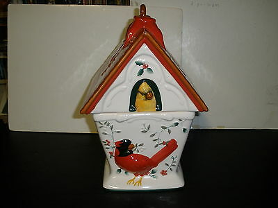 Pfaltzgraff Winterberry Cardinal Bird House Cookie Jar Bright Colors Red White