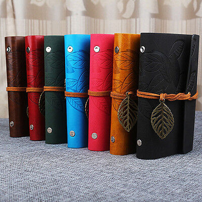 Notebook Diary String Leaf Travel Faux Leather Paper Journal Book Novelty