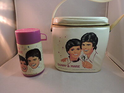 Vintage 1977 Donny and Marie vinyl lunch box with thermos, great condition!