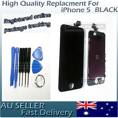 Front Glass Touch Screen LCD Display Digitizer Assembly for BLACK iPhone 5 AU