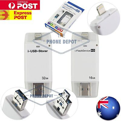 iPhone USB Flash Drive OTG Disk Memory Storage Stick iPad iOS Android iFlash AU