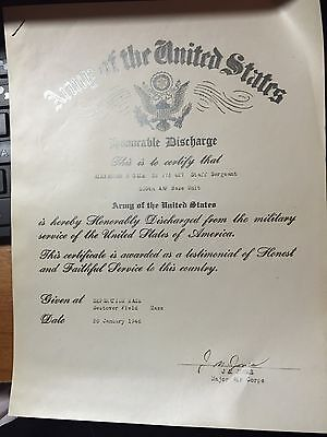 Wwii Papers 1946 Usa Army Discharge Separation Papers