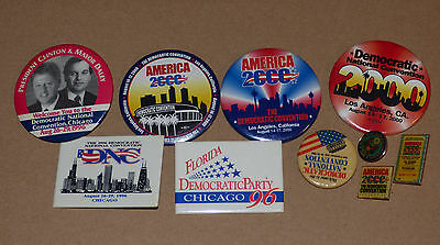 Democratic Party Convention Lot of 10 Pins Pinbacks 1980's - 2000 Clinton