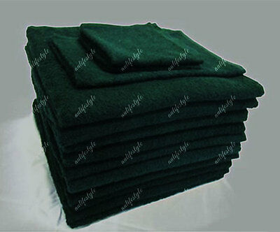 BULK SAVE 10x Bath Towel Dark Green 100% Premium Cotton Hotel AirBnb 68x137CM