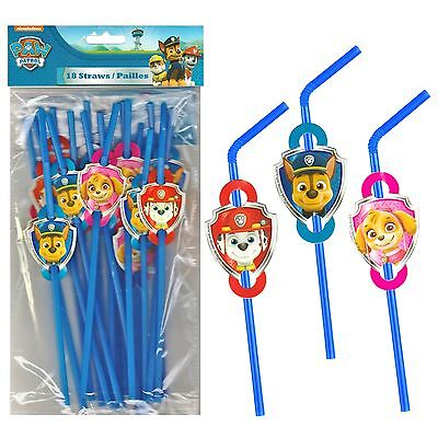 Paw Patrol Birthday Party Supplies Plastic Drinking Straws (Pack Of 18)