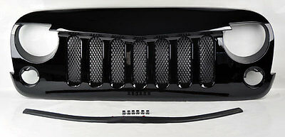 Jeep Wrangler 07-15 Angry Bird Style Mesh Gloss Black Front Hood Bumper Grill