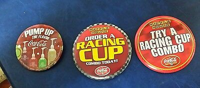 Lot of 3 Waffle House Coca Cola Pin Buttons