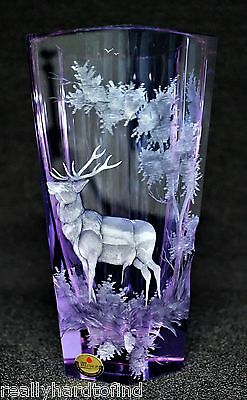 Extra Large Moser Alexandrite Vase Elk In The Woods Scene Very Rare Signed