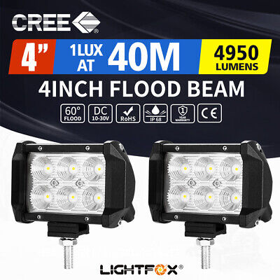 2X 4inch CREE LED Work Light FLOOD Beam Offroad Driving 4WD Reverse