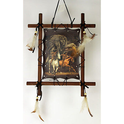 "11""x 9"" Riding Horses Indian Dream Catcher Wall Hang Decor Feathers Framed Beads"