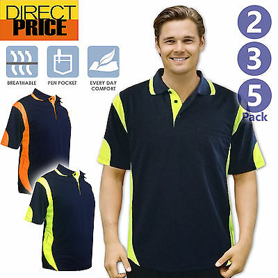 2 3 5 Packs Hi Vis Polo Shirt Work Polo Shirts Piping Panel Micro Mesh Cool Dry